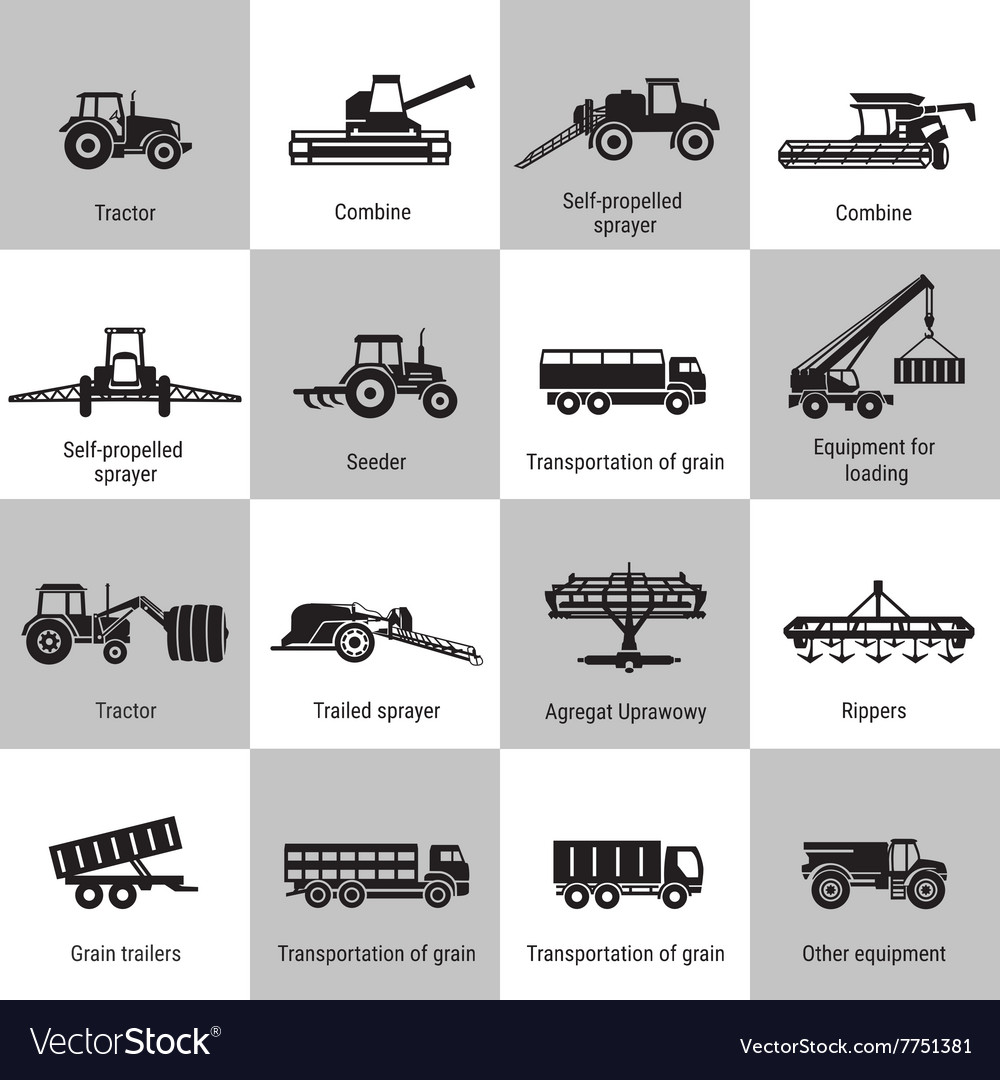 Agriculture machinery equipments vector