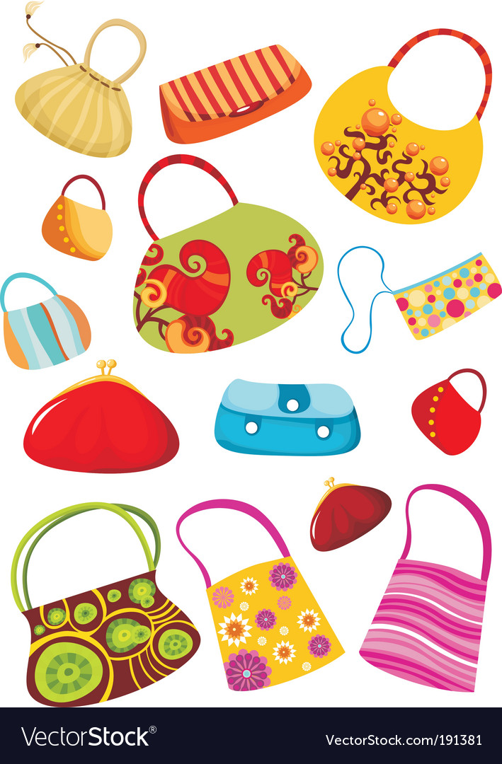 Purse set vector