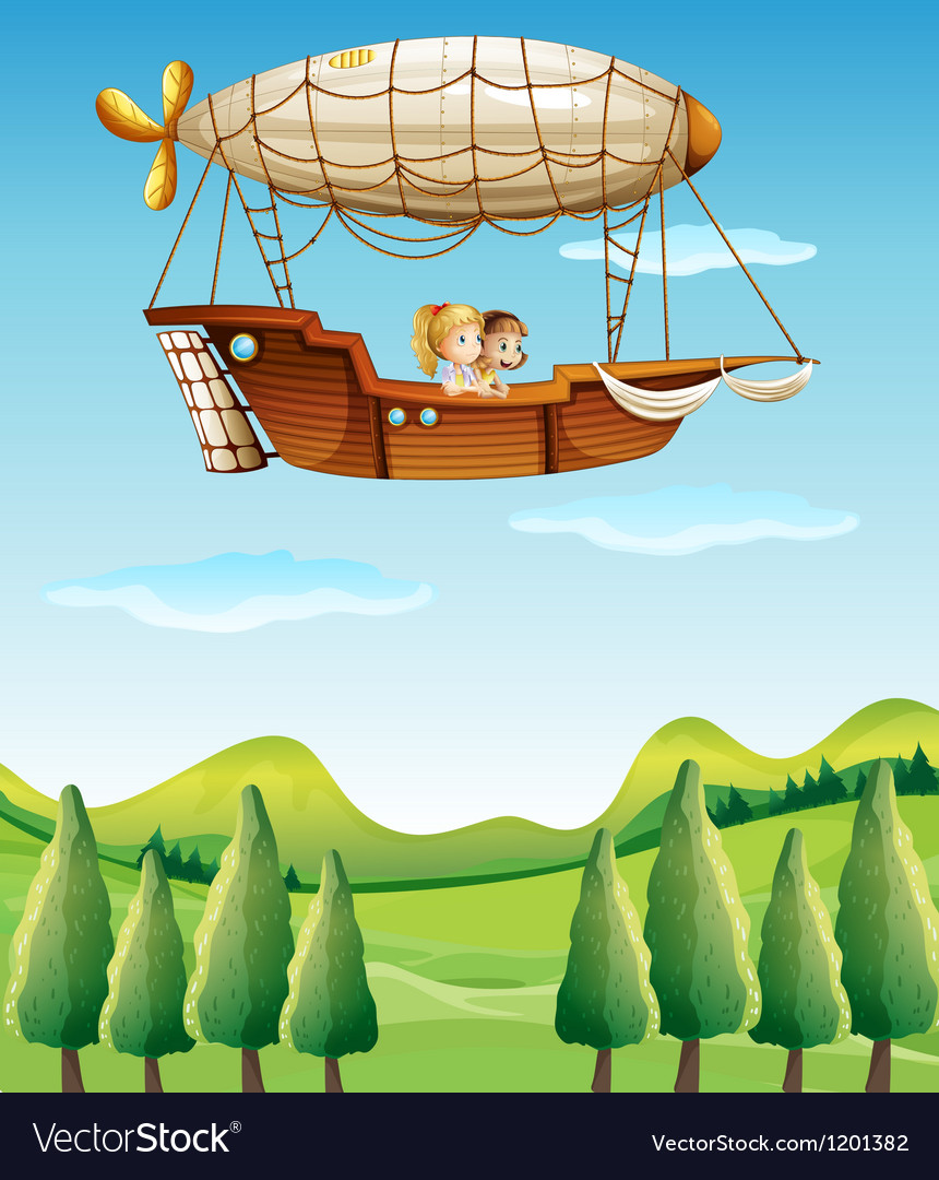 Two girls riding in an airship vector