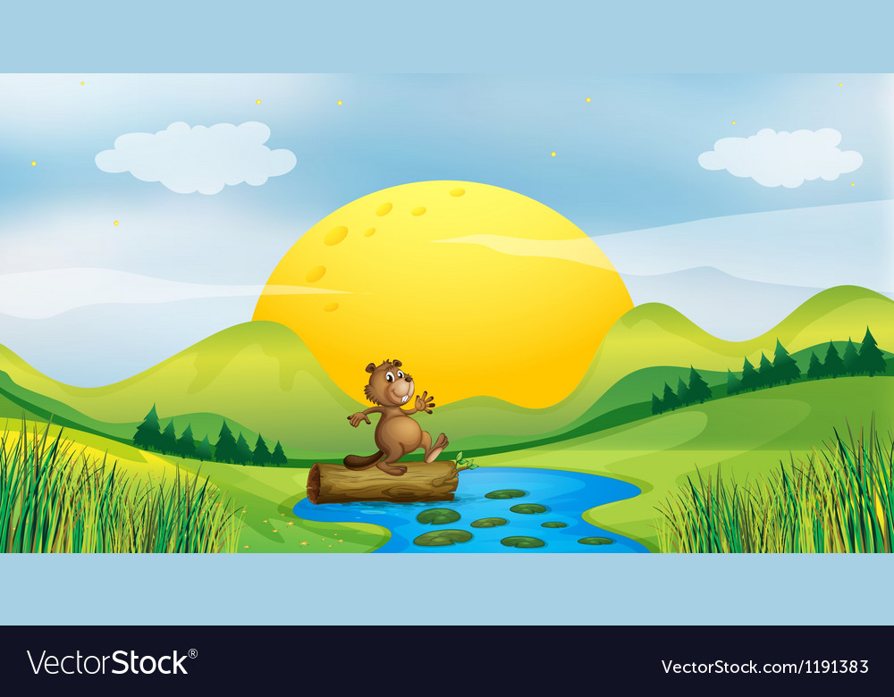A beaver above a floating trunk vector