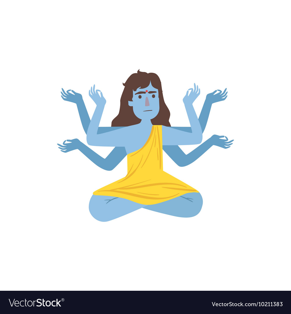 Blue skinned kali goddess with many arms vector