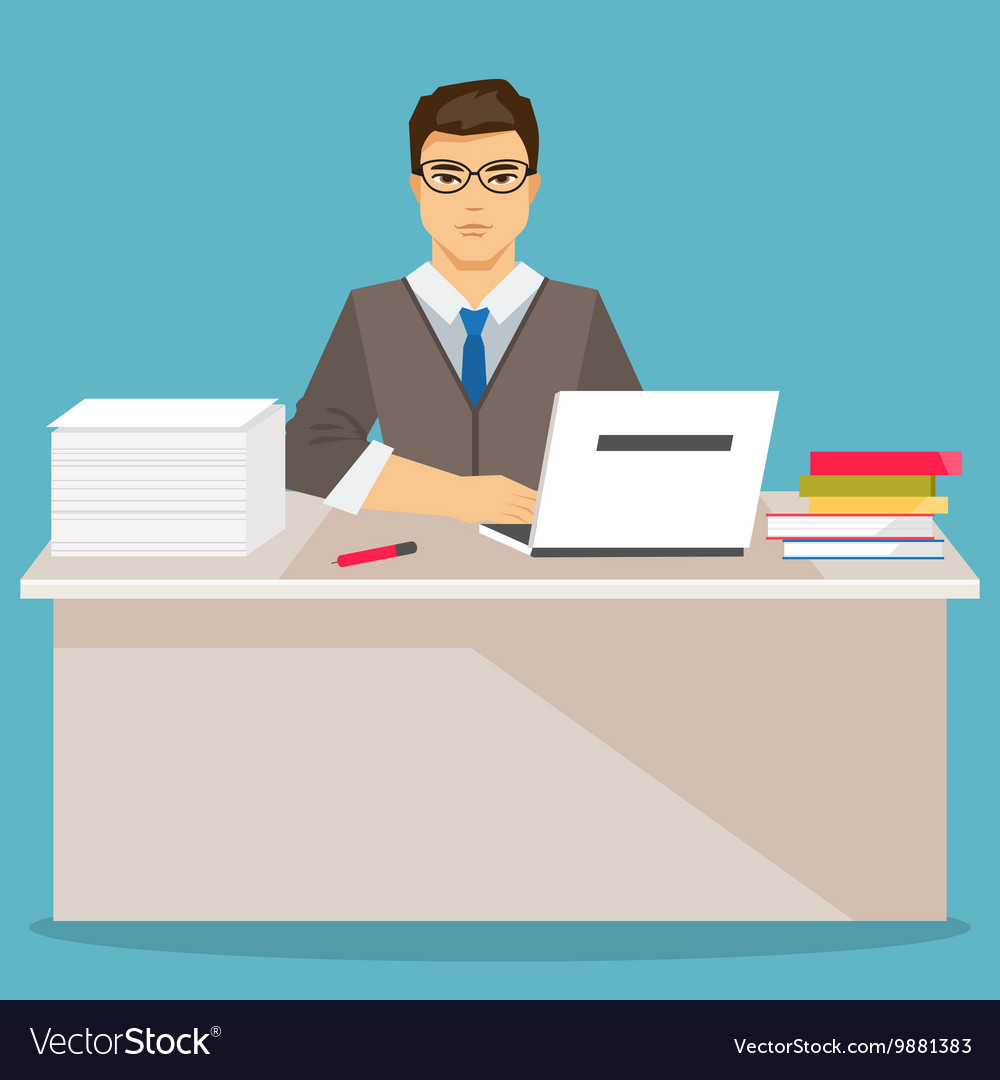 Businessman in office flat vector