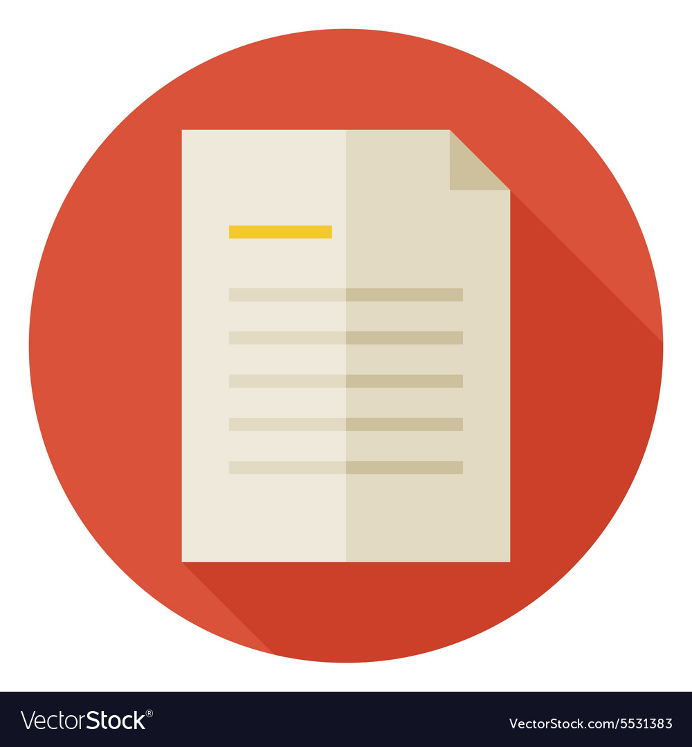 Flat office paper letter circle icon with long vector