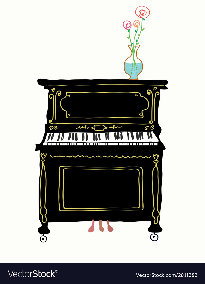 Piano card hand drawn vector