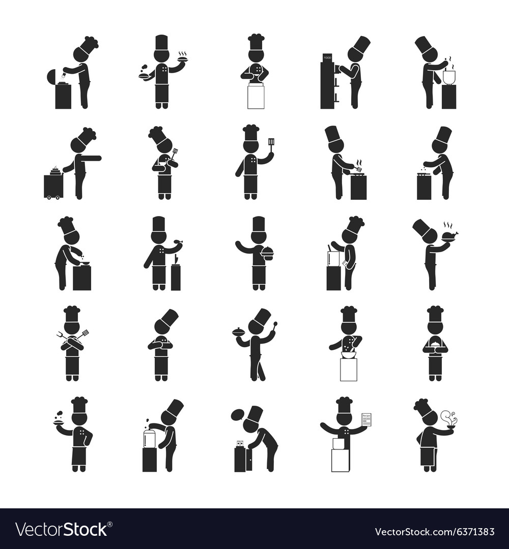 Set of chef human pictogram icons vector
