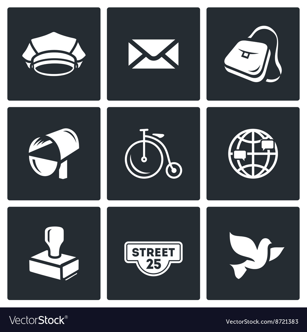 Set of post office icons postman letter vector