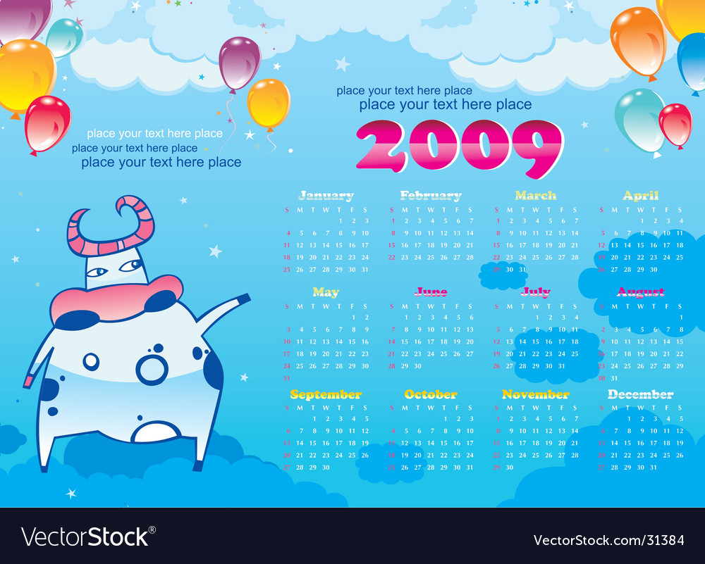 2009 calendar with cute cow vector