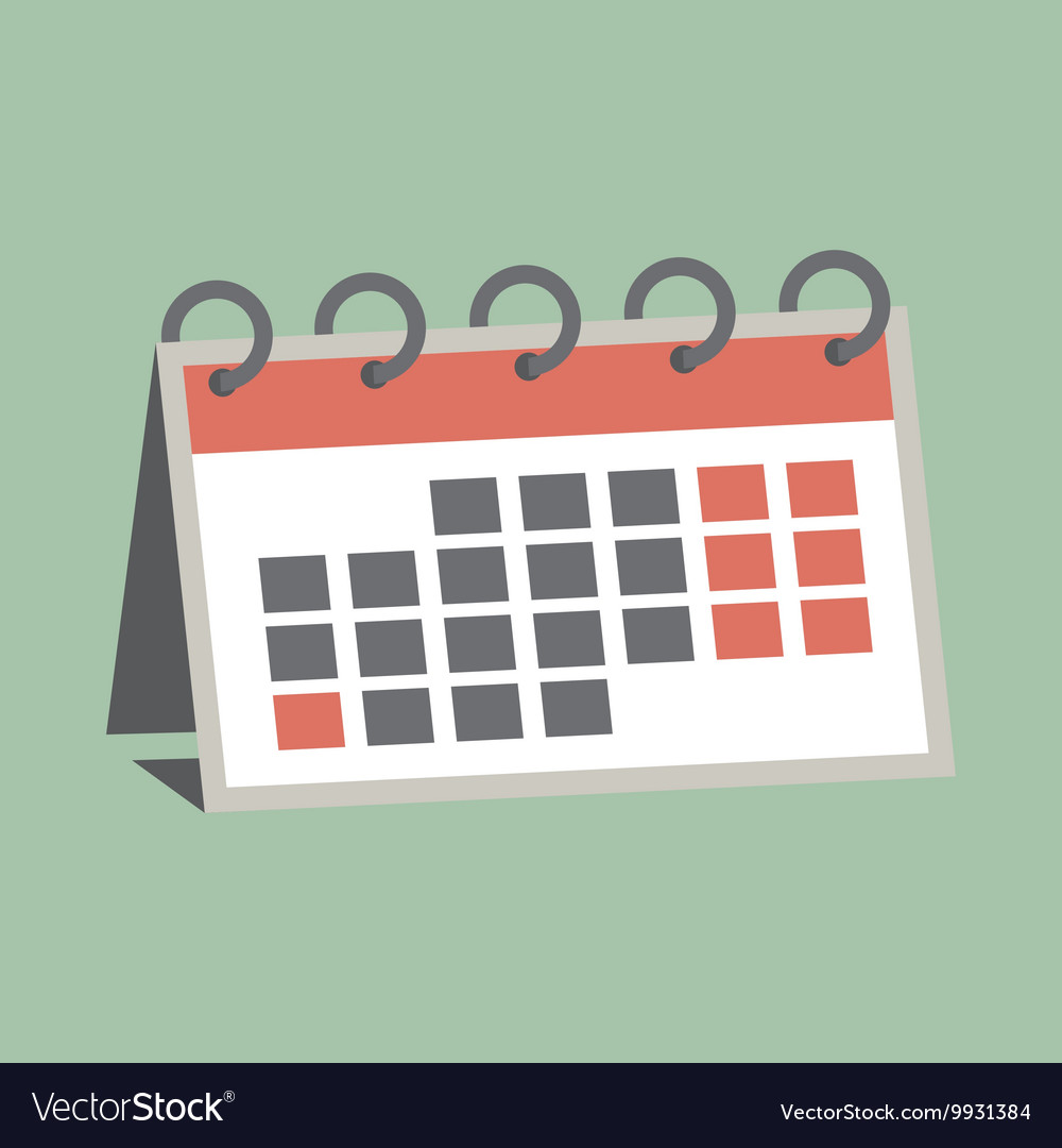 Agenda paper icon of the calendar with one month vector