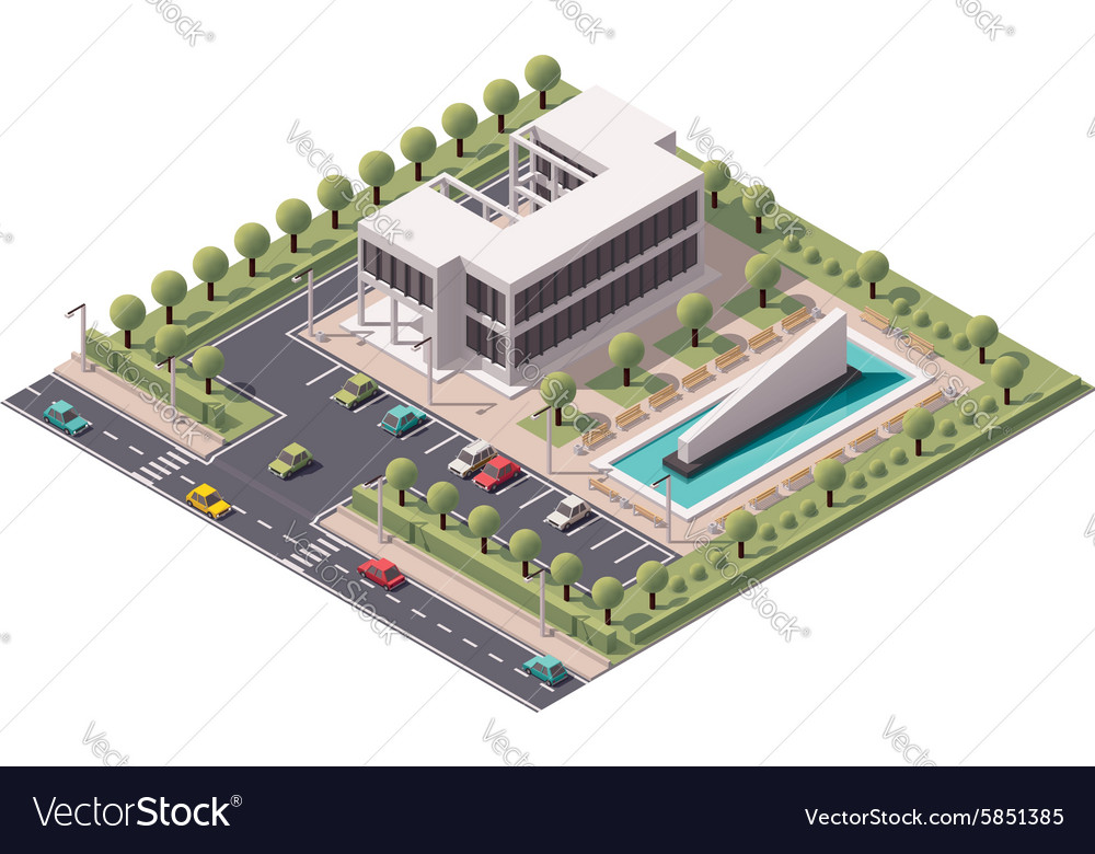Isometric office building icon vector