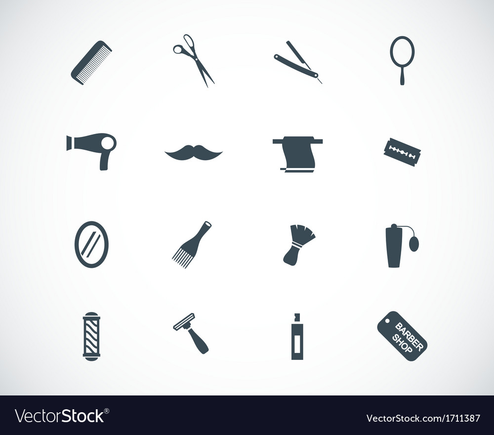 Black hair and icons set vector