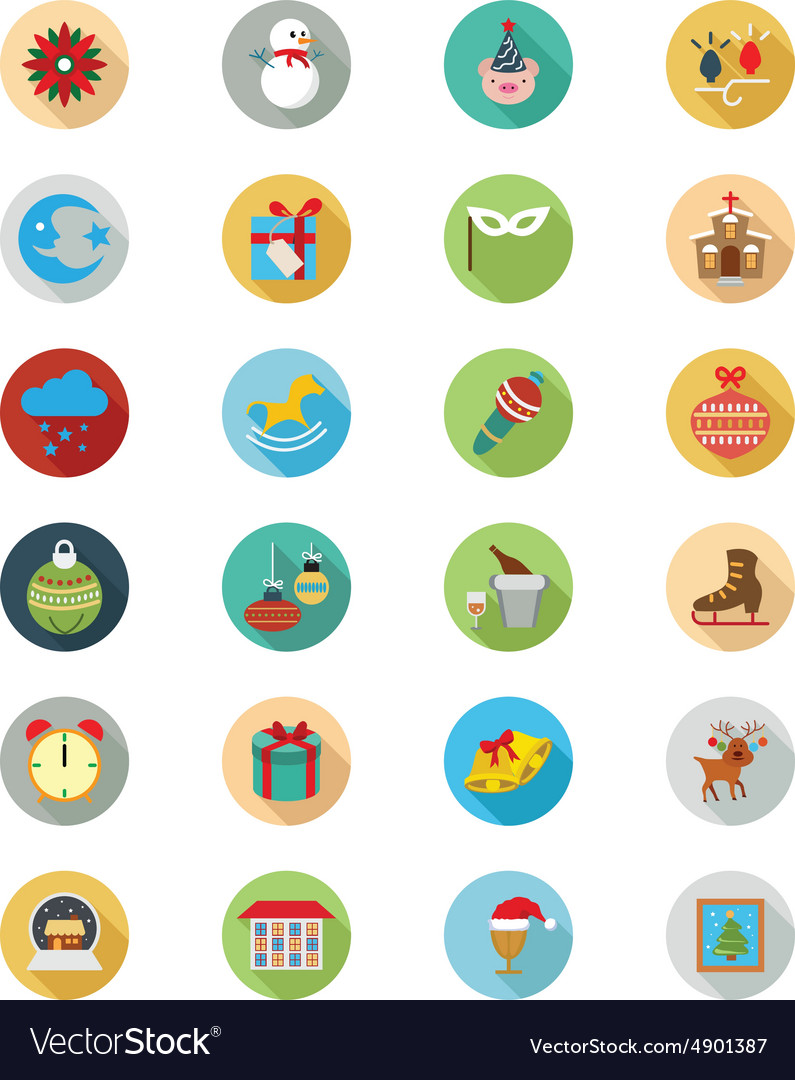 Christmas flat icons 3 vector