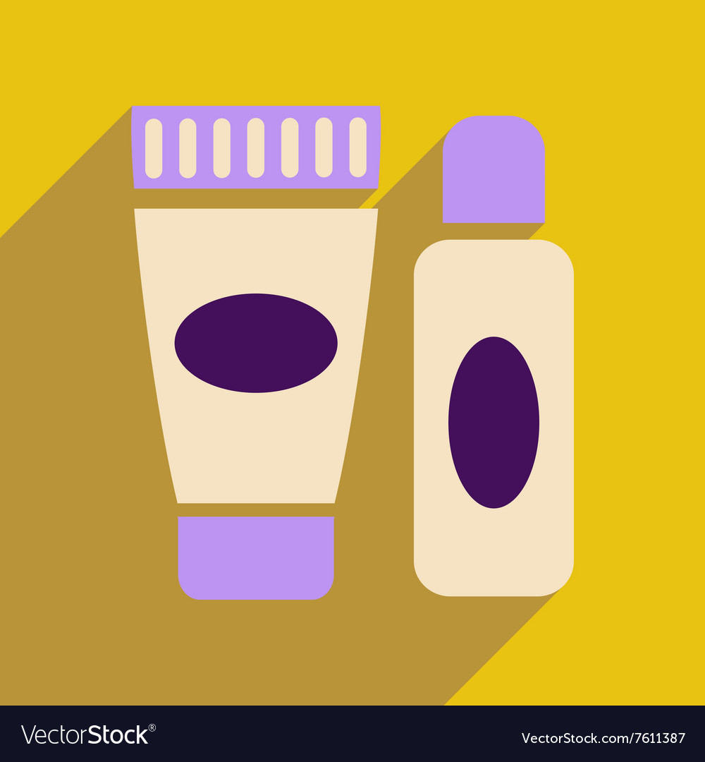 Flat icon with long shadow cream and shaving gel vector