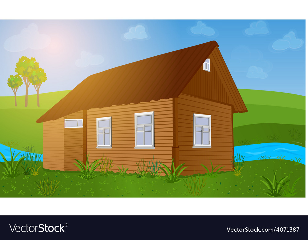Old wooden house vector