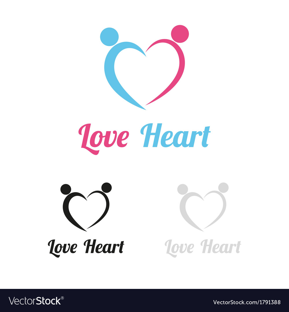 Love heart logo vector