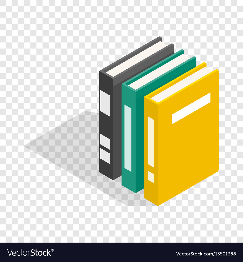 Three books of encyclopedia isometric icon vector