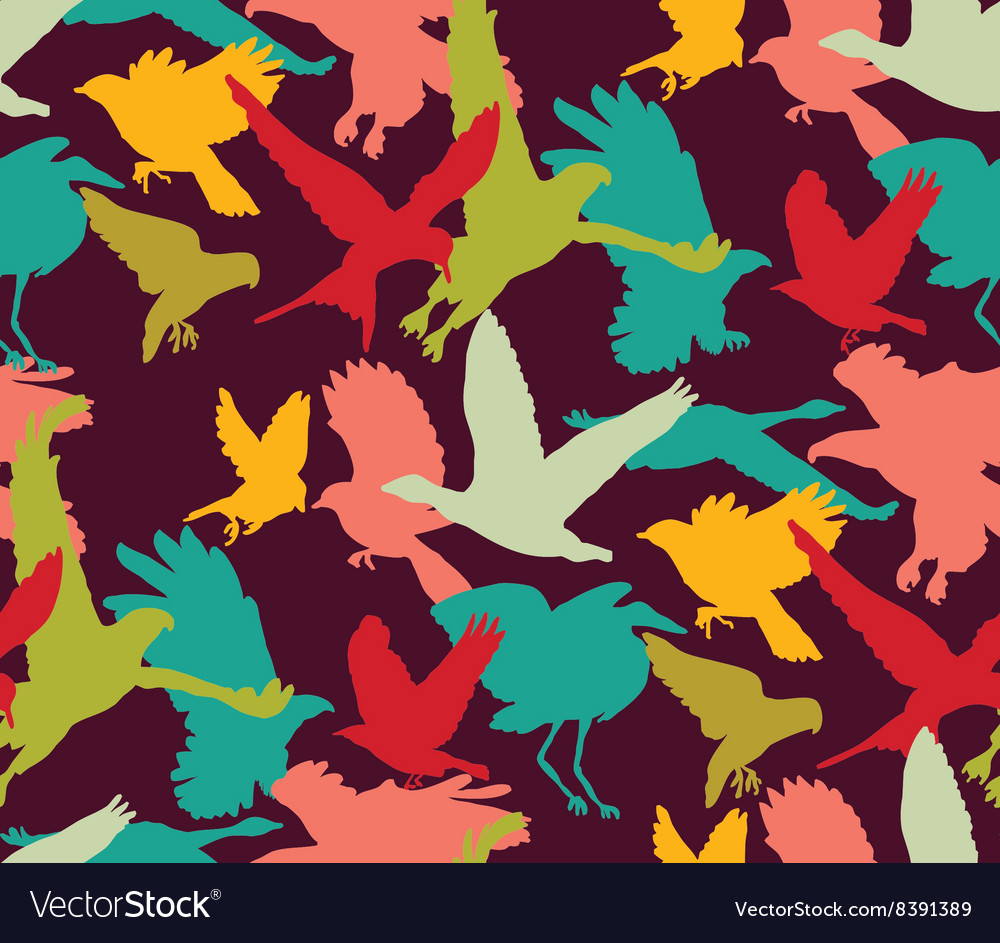 Birds bright abstract ornament color seamless vector