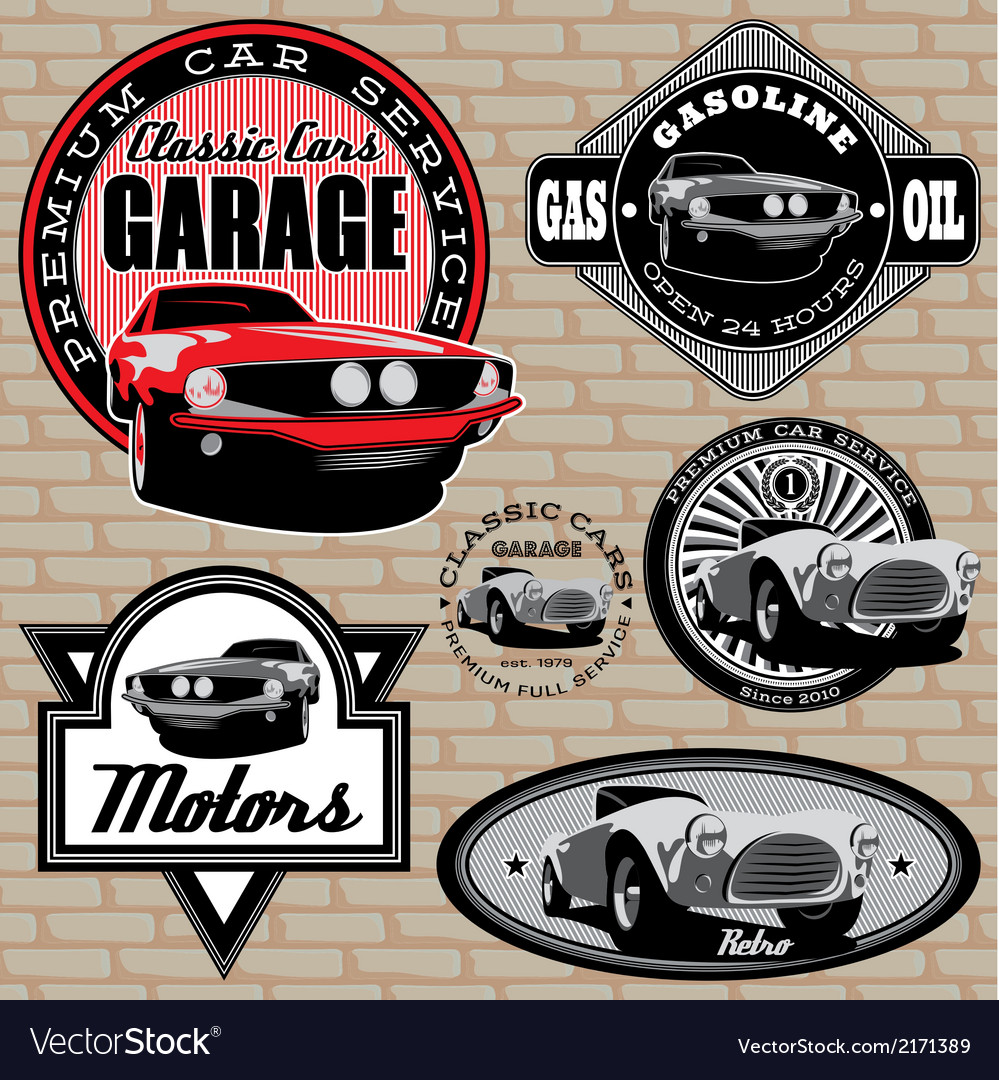 Set of emblems with retro car on wall vector