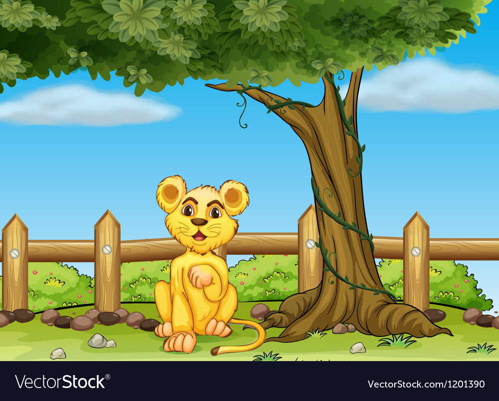 A young tiger under the tree vector