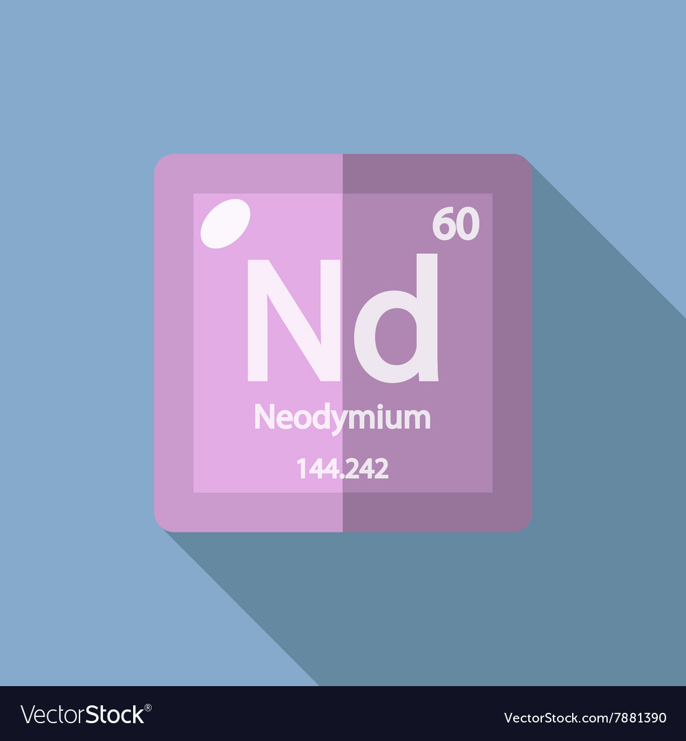 Chemical element neodymium flat vector