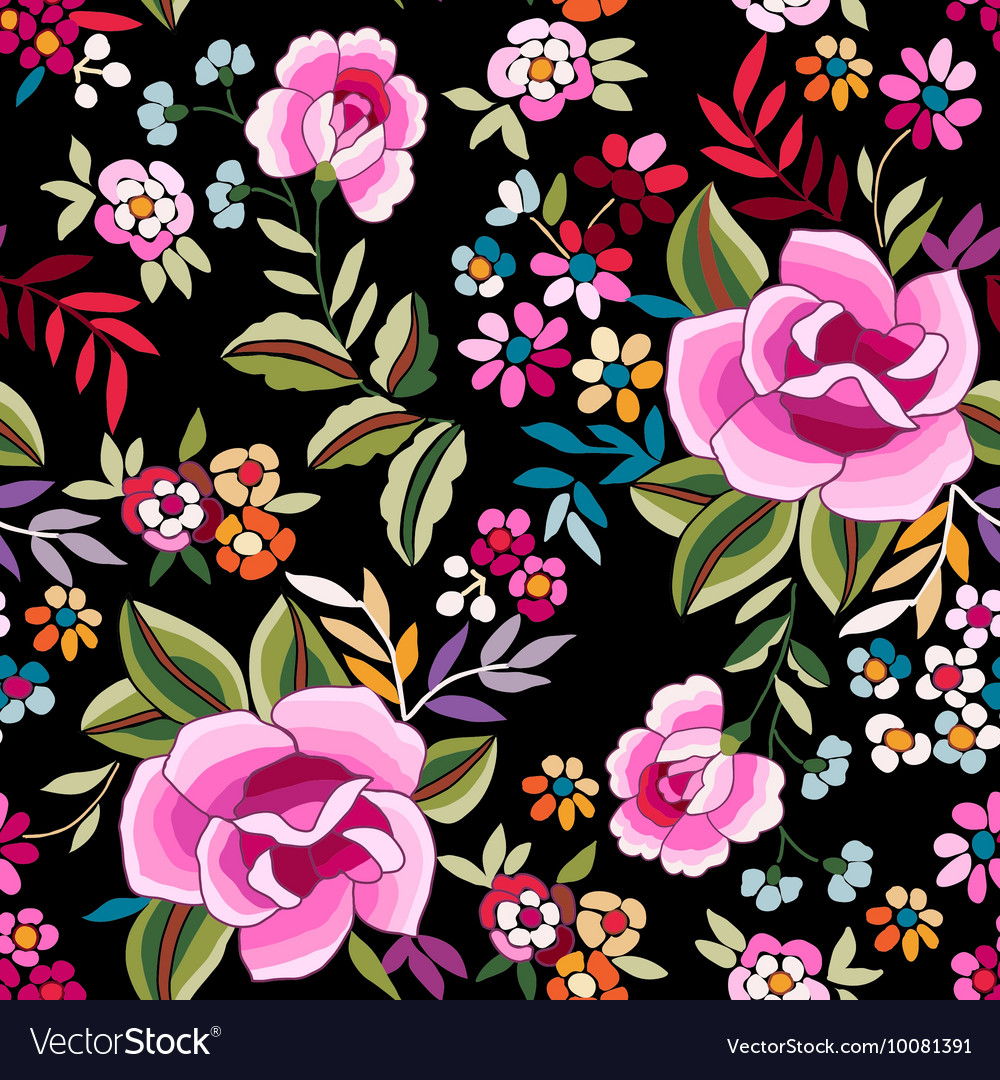 Colorful flamenco print with roses vector