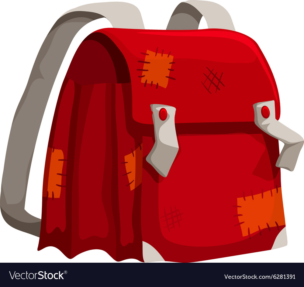 Old schoolbag with marks vector