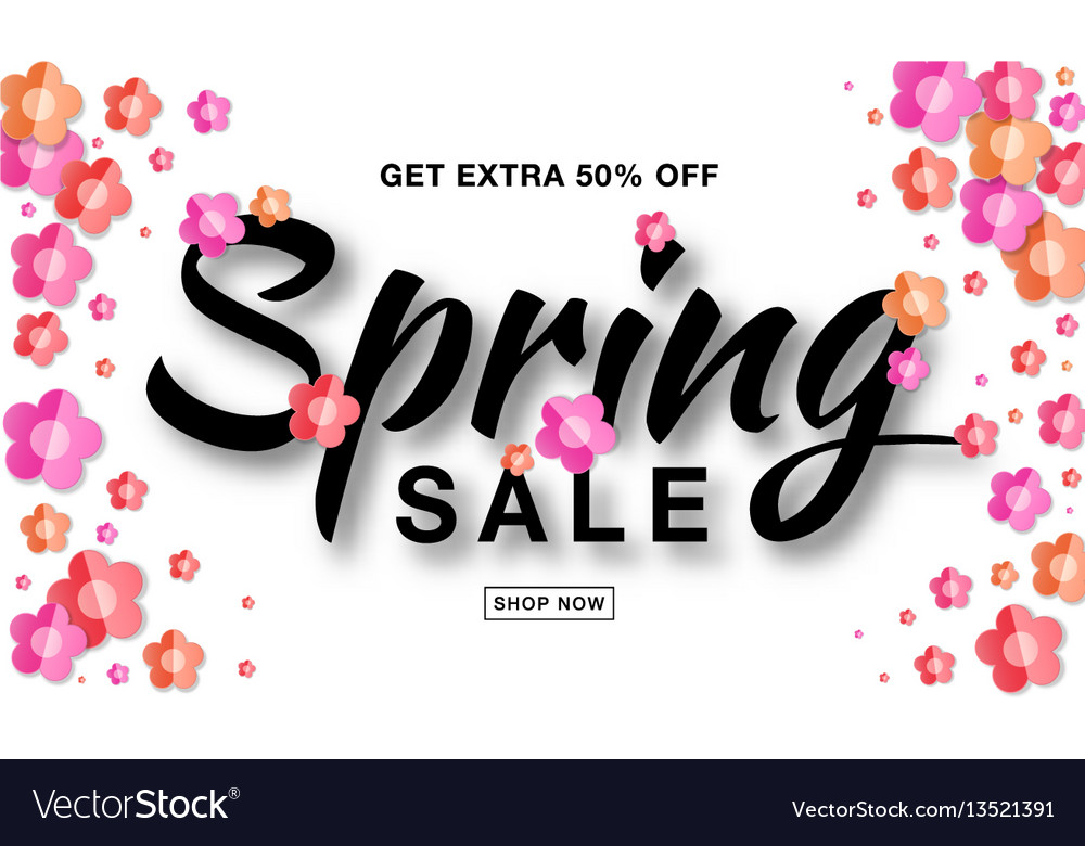 Spring sale banner background with paper flowers vector