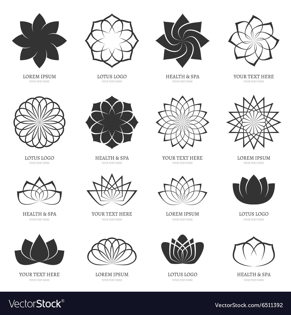 Abstract lotus flowers for spa yoga class vector