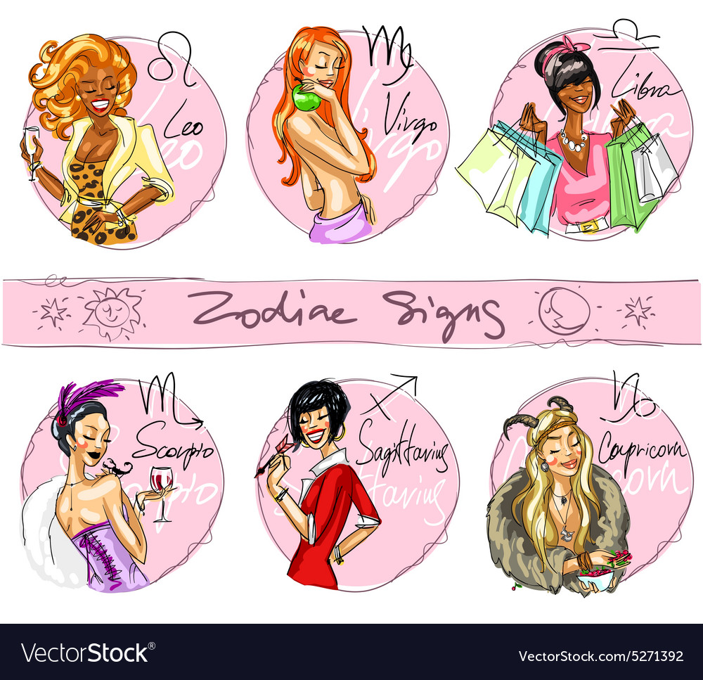 Zodiac signs hand drawn icons  part 2 vector