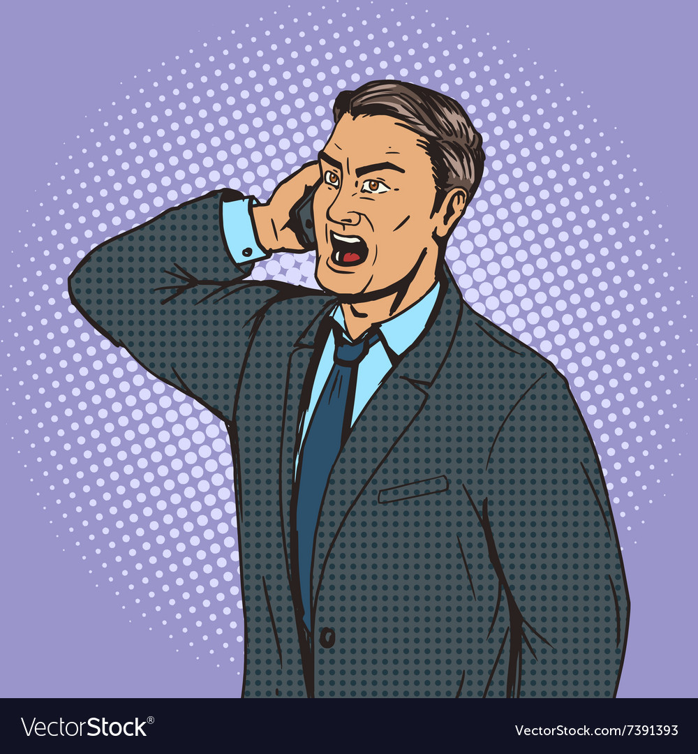 Angry businessman speaks by phone pop art vector