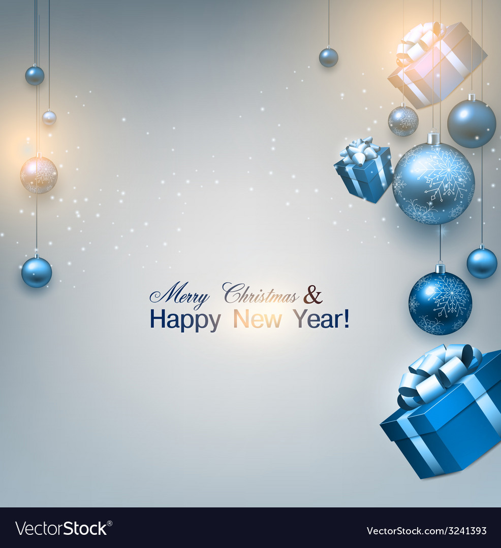Christmas background with gifts and blue balls vector