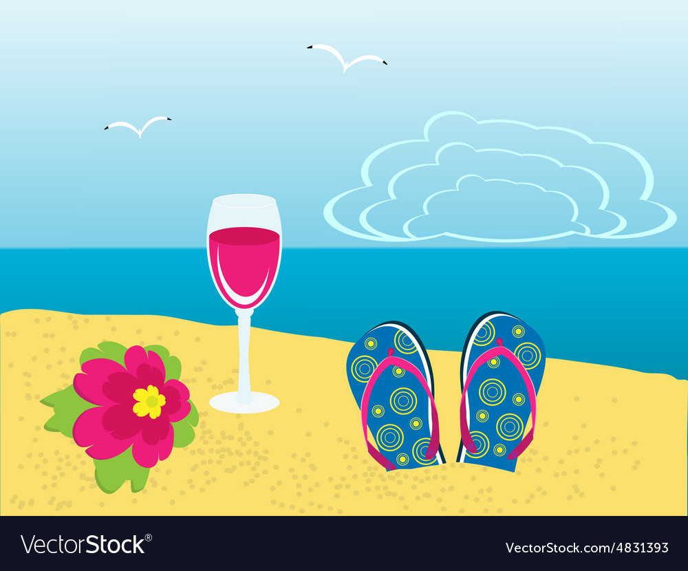 Flower glasses and flip flops on the beach vector