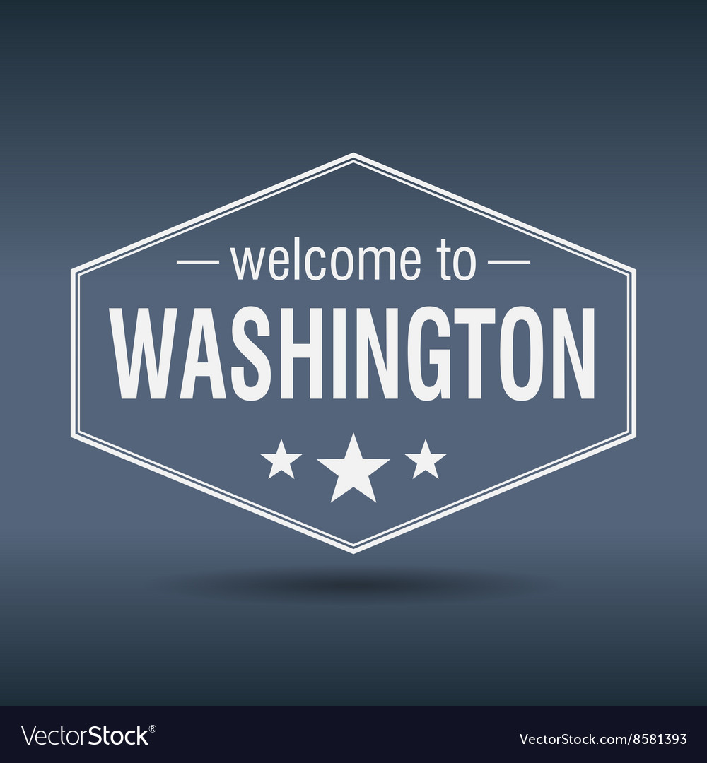 Welcome to washington hexagonal white vintage vector