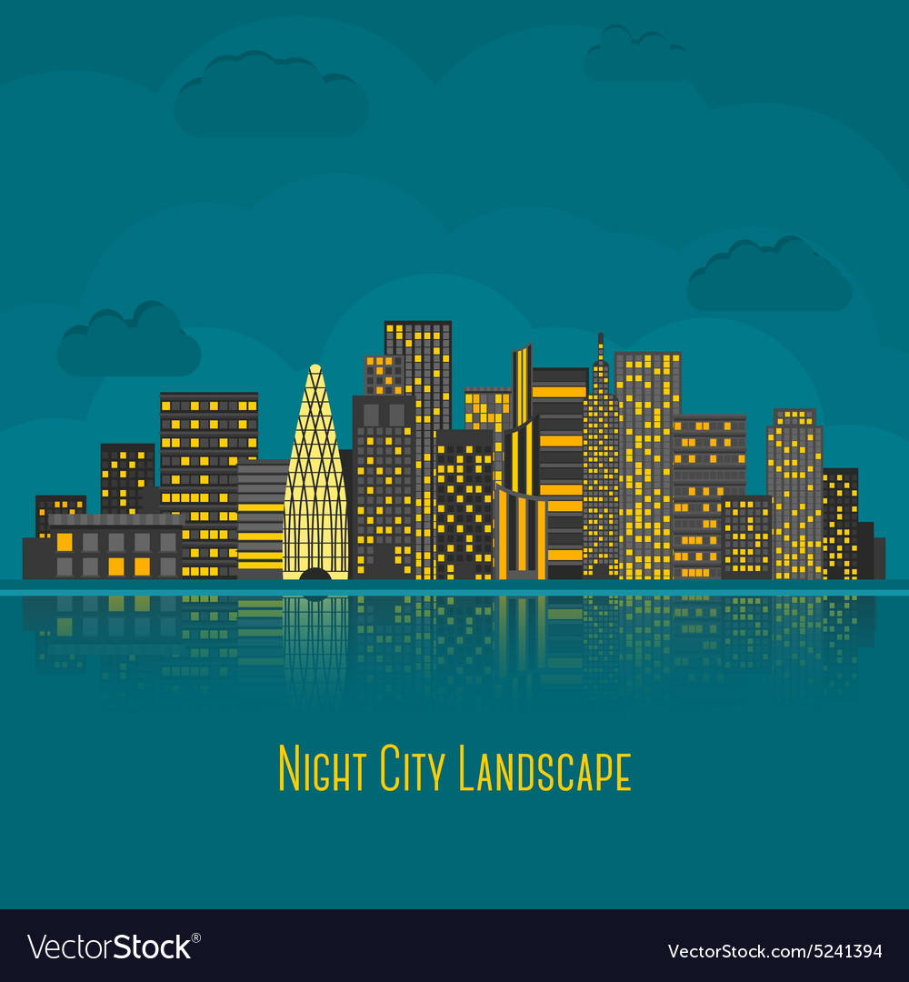 Modern big city night landscape with reflection in vector