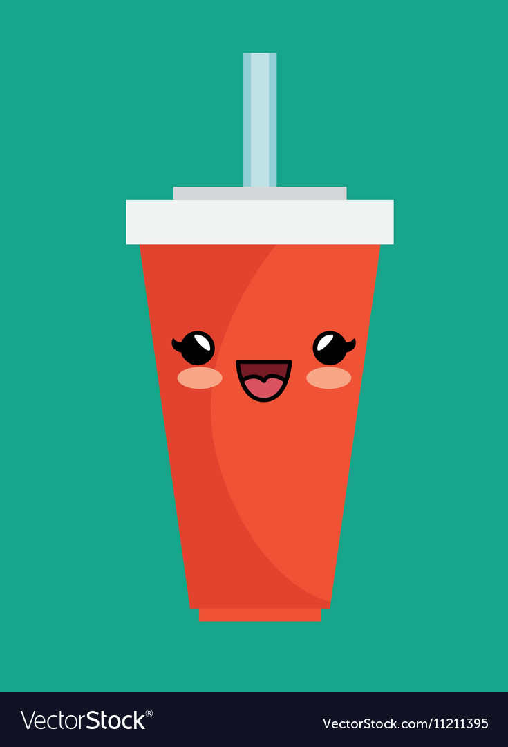 Kawaii cup soda straw cold vector