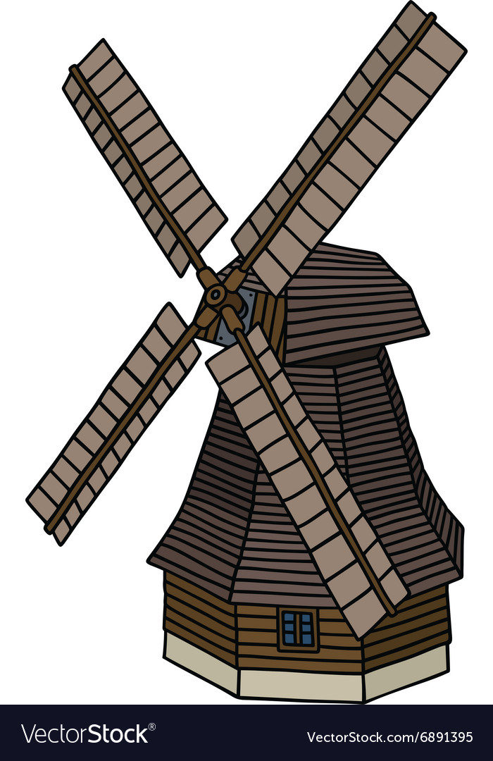 Old wooden windmill vector