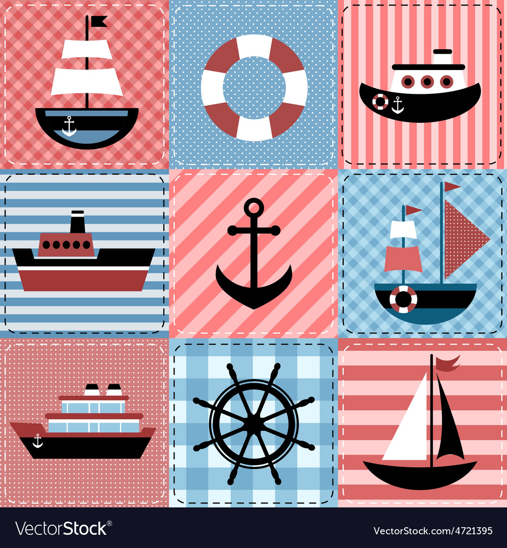 Patchwork with sea transport vector