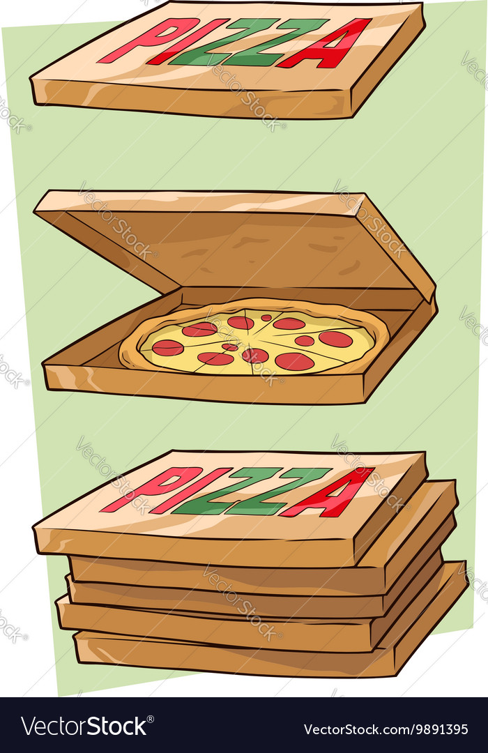 Set of cartoon cool pizza and box vector