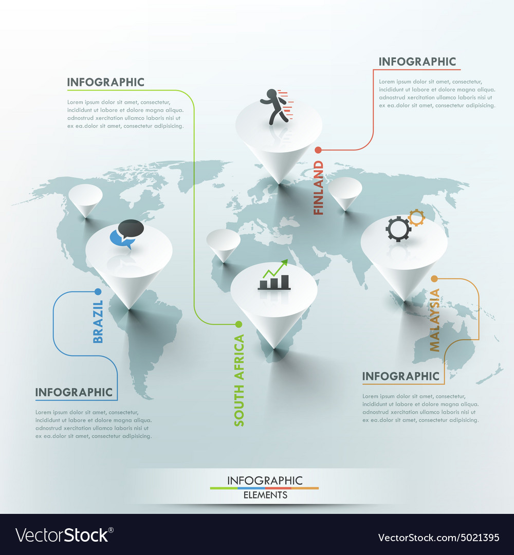 World map and infographics vector