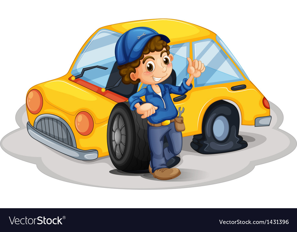 A male mechanic fixing the yellow car vector
