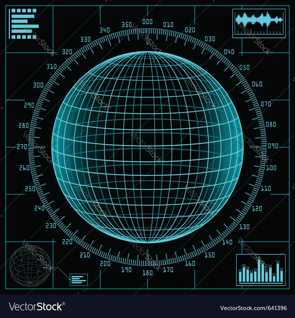 Radar screen digital vector