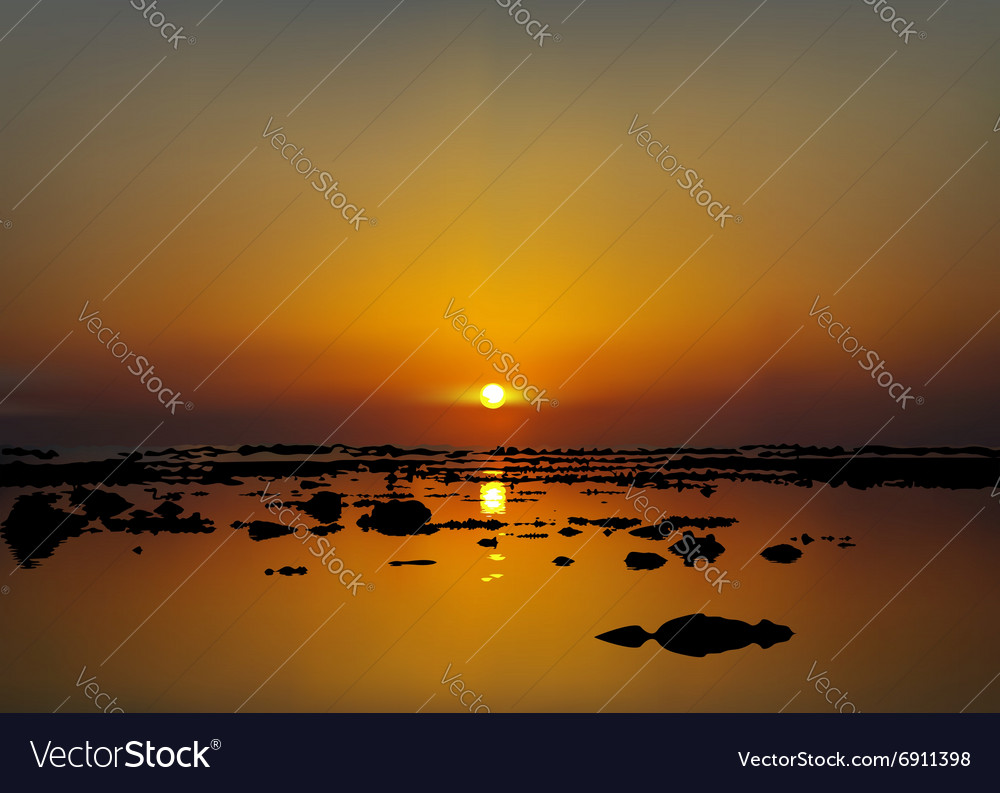 Sunrise or sunset over the sea beach vector