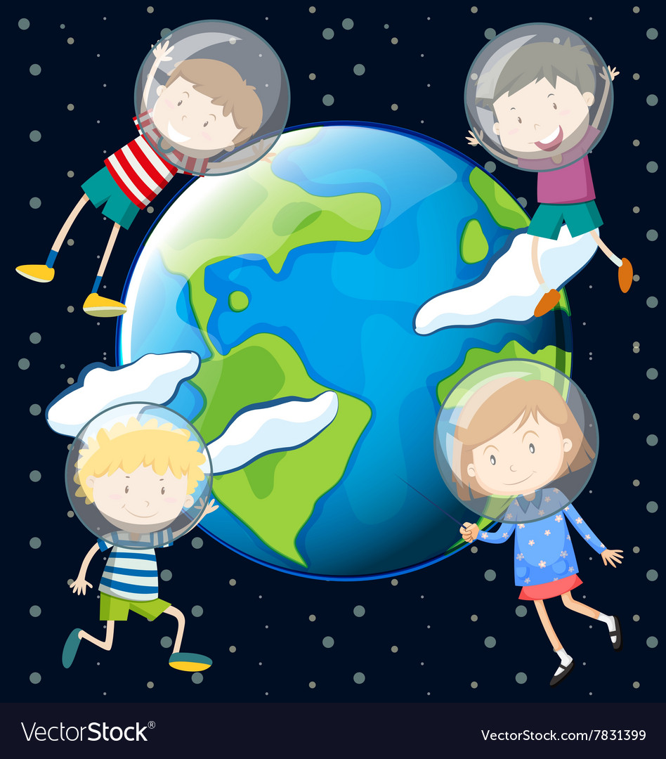 Children floating in the space vector