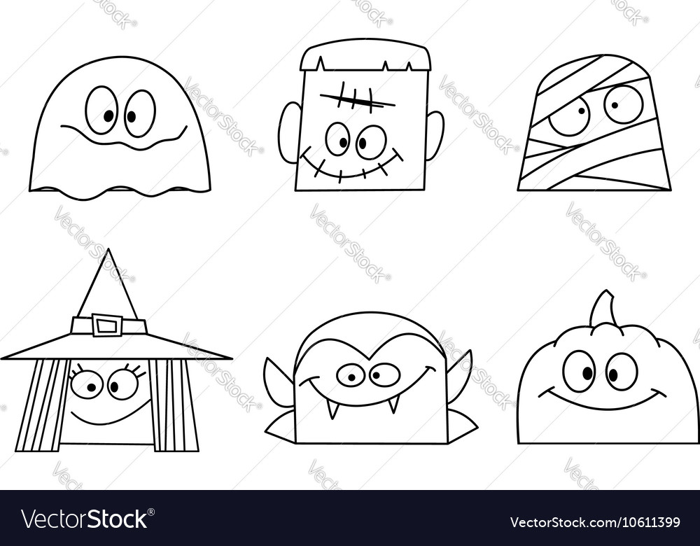 Outlined halloween faces vector