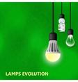 Hanging on cords three light bulbs vector image vector image