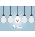 Hanging light bulbs with glowing one Bright idea vector image