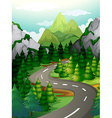Scene with pine trees along the expressway vector image