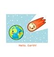 Hello Earth Kawaii space funny card Doodles vector image
