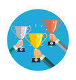 Champion gold silver and bronze trophy cup award vector image