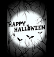 happy halloween graveyard silhouette greeting vector image