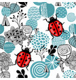 seamless pattern with cute ladybirds and design vector image